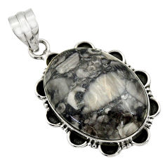 925 sterling silver 20.33cts natural black crinoid fossil pendant jewelry r32056