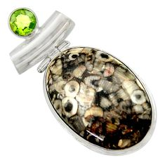 925 sterling silver 28.30cts natural black crinoid fossil peridot pendant r41644