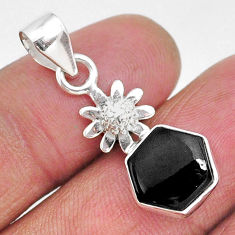 925 sterling silver 4.89cts natural black onyx flower pendant jewelry r93320