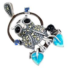 925 sterling silver natural black onyx marcasite enamel owl pendant c22846