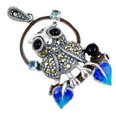 925 sterling silver natural black onyx marcasite enamel owl pendant c22847