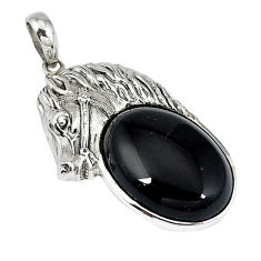 925 sterling silver natural black onyx oval horse pendant jewelry c22450