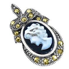 925 sterling silver 4.24cts natural black onyx pearl cameo face pendant c20861