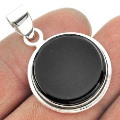 925 sterling silver 12.05cts natural black onyx round pendant jewelry t53480