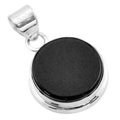 925 sterling silver 13.67cts natural black onyx round pendant jewelry t53728