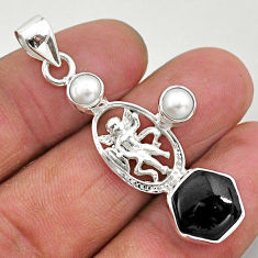 Clearance Sale- 925 sterling silver 7.02cts natural black onyx white pearl angel pendant r96890