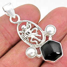 Clearance Sale- 925 sterling silver 6.08cts natural black onyx white pearl angel pendant r96915