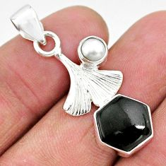 925 sterling silver 5.24cts natural black onyx white pearl pendant r96912