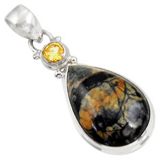 Clearance Sale- 925 sterling silver 16.18cts natural black picasso jasper citrine pendant d39480