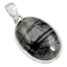 925 sterling silver 24.38cts natural black picasso jasper oval pendant d41244