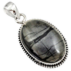 Clearance Sale- 925 sterling silver 18.70cts natural black picasso jasper oval pendant d41383