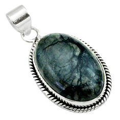925 sterling silver 17.57cts natural black picasso jasper oval pendant t53653