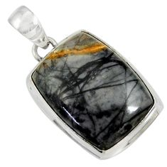 Clearance Sale- 925 sterling silver 21.42cts natural black picasso jasper pendant jewelry d41251