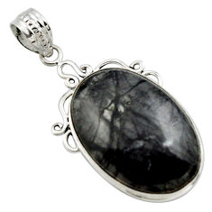 925 sterling silver 18.70cts natural black picasso jasper pendant jewelry r27823