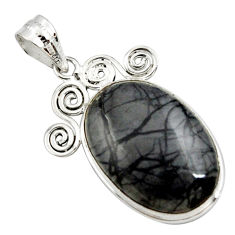 925 sterling silver 18.15cts natural black picasso jasper pendant jewelry r27827