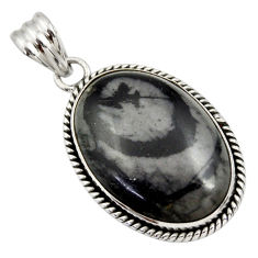 925 sterling silver 25.57cts natural black picasso jasper pendant jewelry r30488