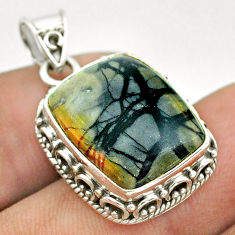 925 sterling silver 14.12cts natural black picasso jasper pendant jewelry t53349