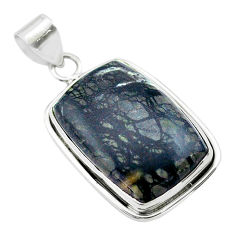 925 sterling silver 19.23cts natural black picasso jasper pendant jewelry t53656