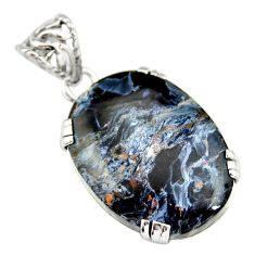 925 sterling silver 18.95cts natural black pietersite (african) pendant r20059