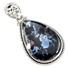 925 sterling silver 23.30cts natural black pietersite (african) pendant r20066