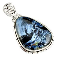 925 sterling silver 20.88cts natural black pietersite (african) pendant r20077