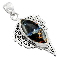 925 sterling silver 14.83cts natural black pietersite (african) pendant r39155