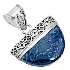 925 sterling silver 13.85cts natural black pietersite (african) pendant r85072