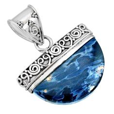 925 sterling silver 13.50cts natural black pietersite (african) pendant r85078