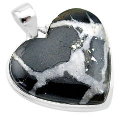 925 sterling silver 30.40cts natural black septarian gonads heart pendant t13356