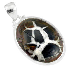 925 sterling silver 14.22cts natural black septarian gonads oval pendant r86605