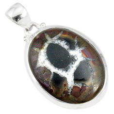 925 sterling silver 14.79cts natural black septarian gonads oval pendant r86617