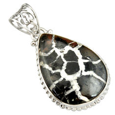 925 sterling silver 18.70cts natural black septarian gonads pear pendant r20129