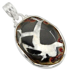 Clearance Sale- 925 sterling silver 16.18cts natural black septarian gonads pendant d41473