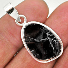 925 sterling silver 11.59cts natural black shungite fancy pendant jewelry t23667