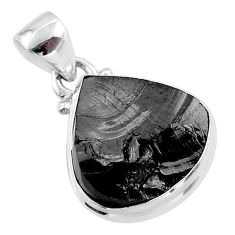 925 sterling silver 8.33cts natural black shungite heart pendant jewelry t45914