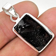 925 sterling silver 10.46cts natural black shungite octagan pendant t23717