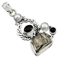 Clearance Sale- 925 sterling silver 16.46cts natural black shungite onyx pearl pendant d43559