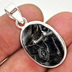 925 sterling silver 10.73cts natural black shungite oval pendant jewelry t23650
