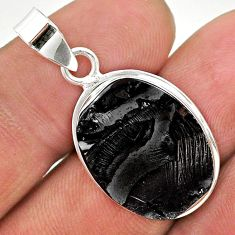 925 sterling silver 11.59cts natural black shungite oval pendant jewelry t23664