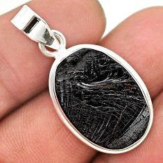 925 sterling silver 10.22cts natural black shungite oval pendant jewelry t23707