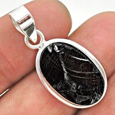 925 sterling silver 8.86cts natural black shungite oval pendant jewelry t23708