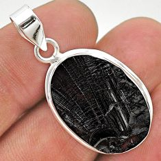 925 sterling silver 12.62cts natural black shungite oval pendant jewelry t23710