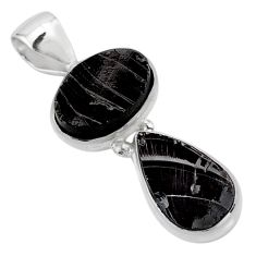 925 sterling silver 8.03cts natural black shungite pendant jewelry t42179