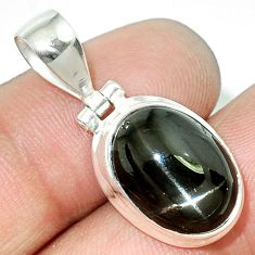 925 sterling silver 7.88cts natural black star oval pendant jewelry r72900