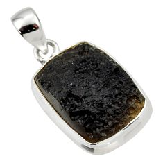 925 sterling silver 13.70cts natural black tektite pendant jewelry r33898