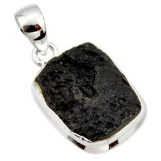 925 sterling silver 12.65cts natural black tektite pendant jewelry r33914