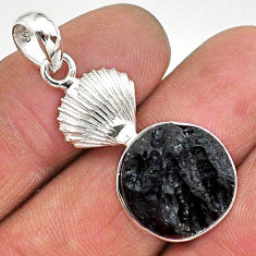 925 sterling silver 12.07cts natural black tektite pendant jewelry t15220