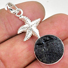 925 sterling silver 13.06cts natural black tektite star fish pendant t15234