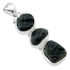 925 sterling silver 13.50cts natural black tourmaline rough fancy pendant t22344
