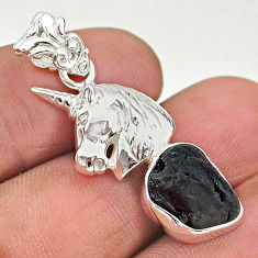 925 sterling silver 6.31cts natural black tourmaline raw horse pendant t20894